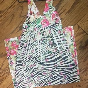 Maxi zebra and floral dress
